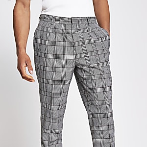 Grey check tapered fit double pleat trousers