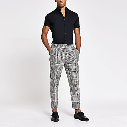 Grey check tapered fit smart trousers