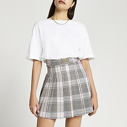 Grey check tennis mini skirt