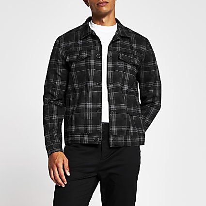 Grey check western skinny fit jacket