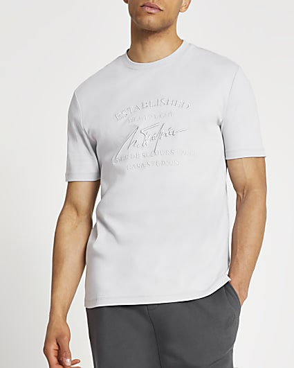 Grey chest embroidery slim fit t-shirt