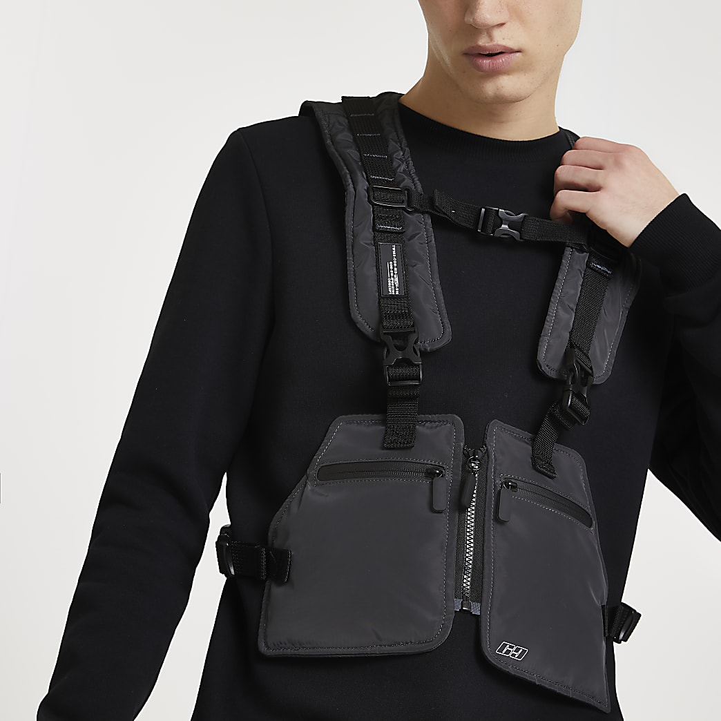 Grey chest harness bag