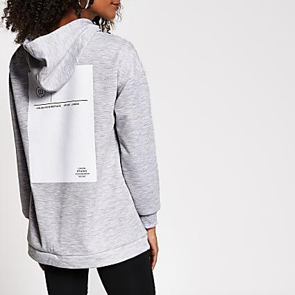 Grey chest print hoodie