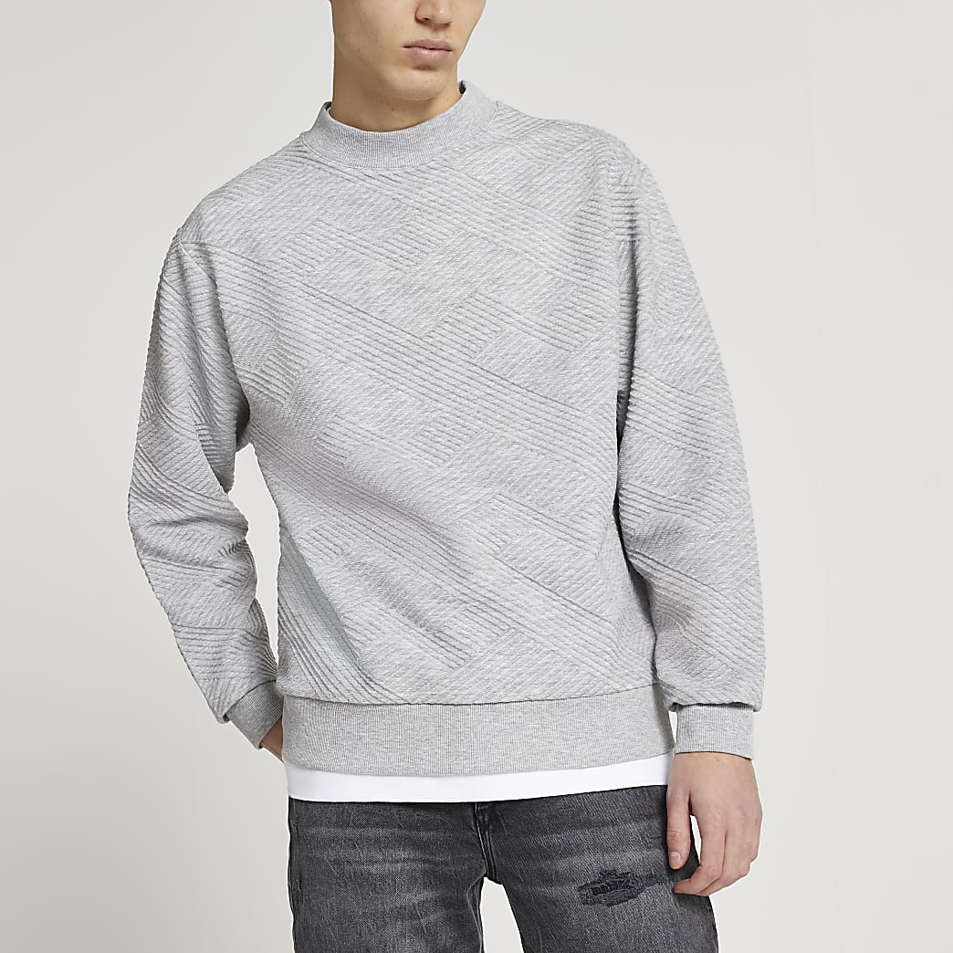 Grey chevron textured sweatshirt