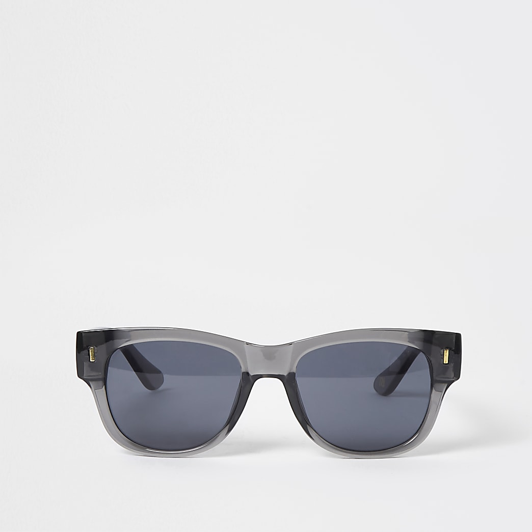 Grey chunky framed retro sunglasses