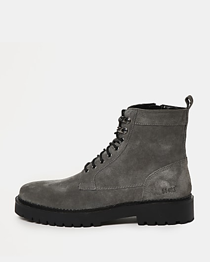 Grey chunky suede lace up military boots