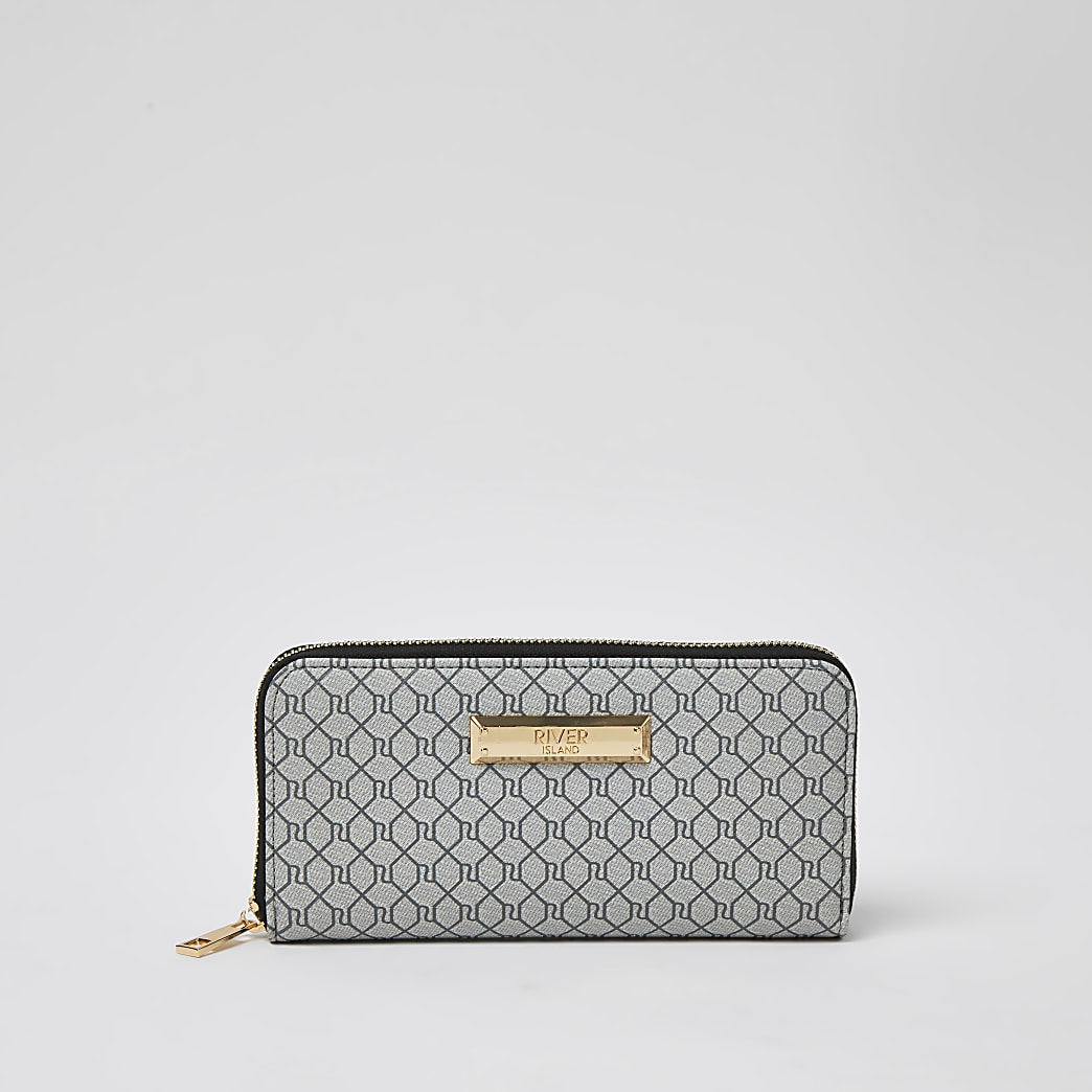 Grey classic RI monogram purse