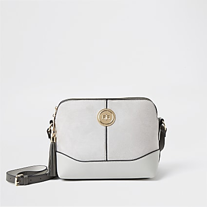 Grey coin detail crossbody bag