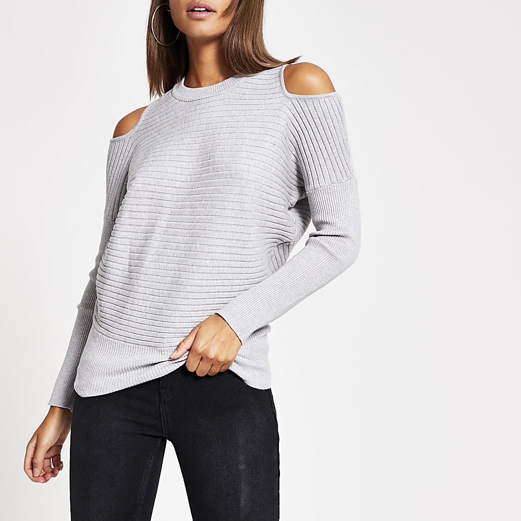Grey cold shoulder rib knitted jumper