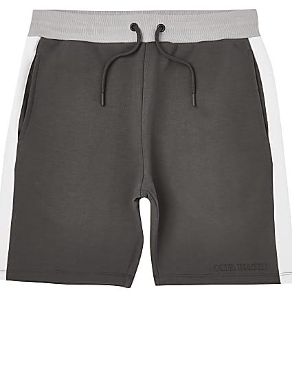 Grey colour block elasticated waist shorts