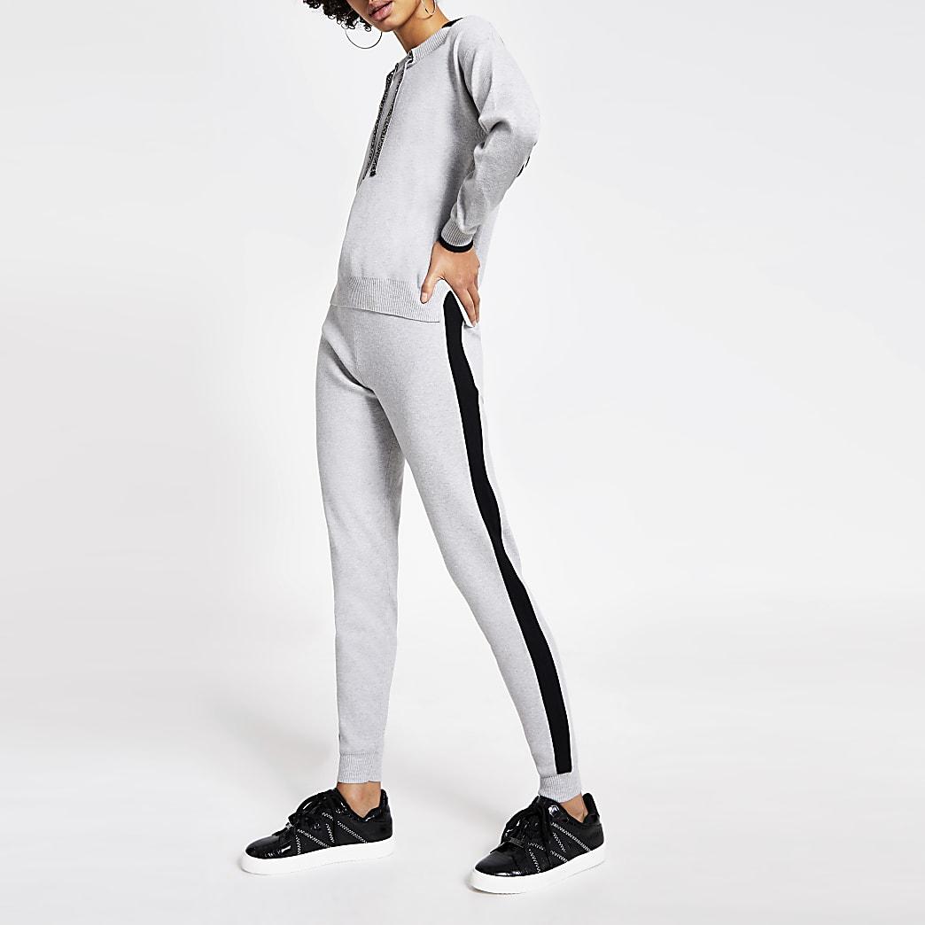Graue Jogginghosen mit Bindegürtel und Blockfarben-Verzierung