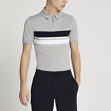 Grey colour block muscle fit polo shirt