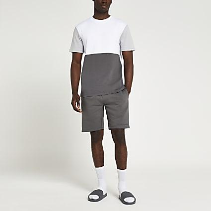 Grey colour block shorts and t-shirt set