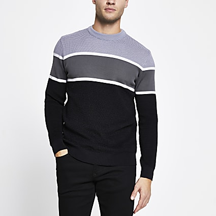 Grey colour block slim fit jumper