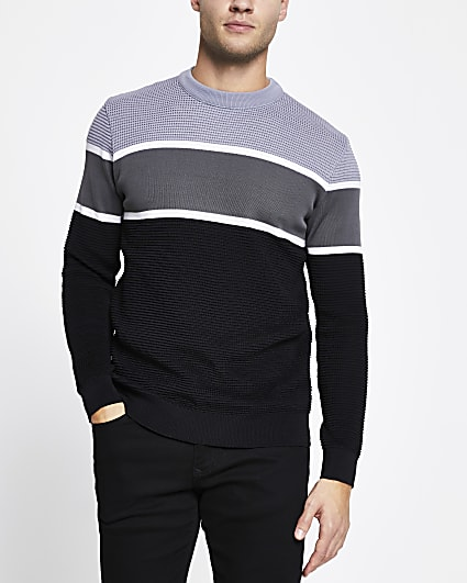 Grey colour block slim fit jumper