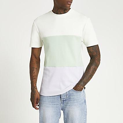 Grey colour block slim fit t-shirt