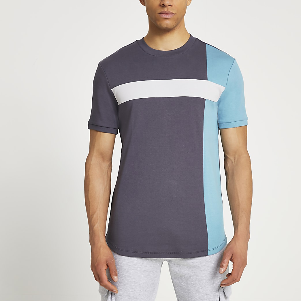 Grey colour block slim fit t-shirt