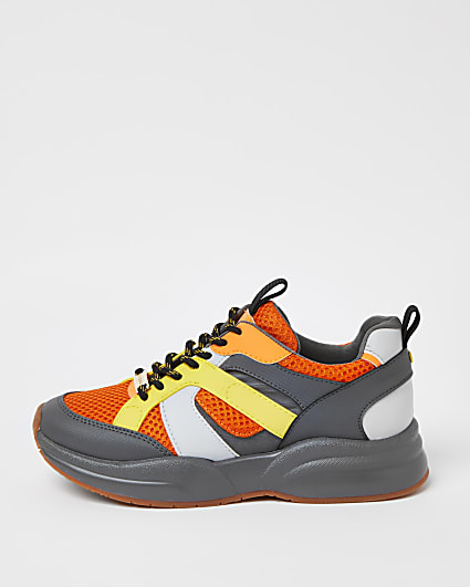 Grey colour block trainers