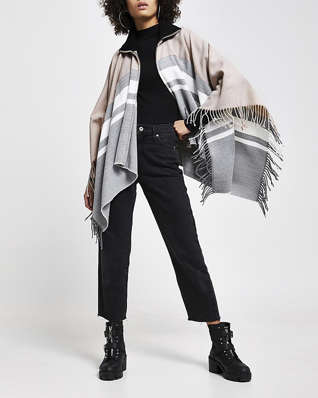 Grey colour block zip front cape
