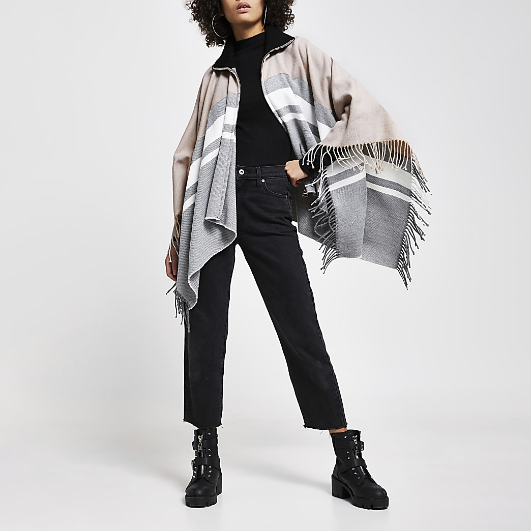 Grey colour block zip front cape