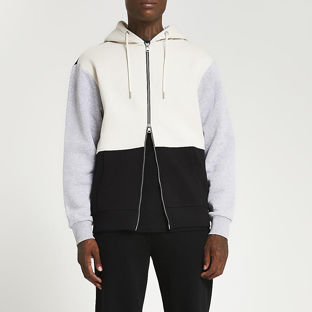 Grey colour block zip up hoodie