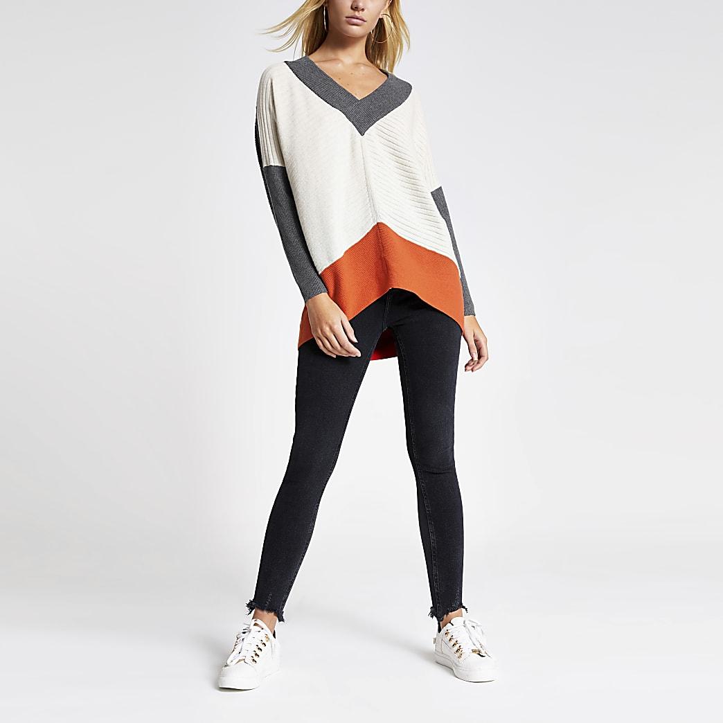 Grey colour blocked V neck knitted jumper