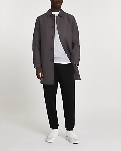 Grey concealed button longline mac