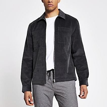 Grey corduroy zip front overshirt