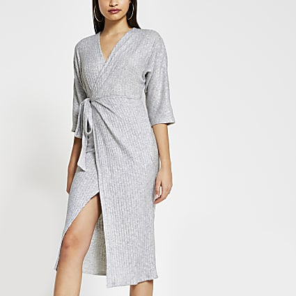 Grey cosy robe wrap batwing dress