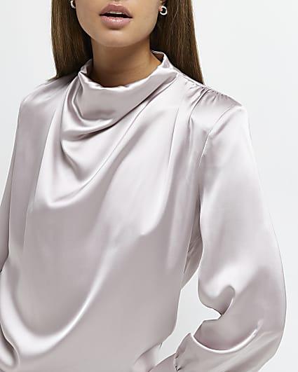 Grey cowl neck top
