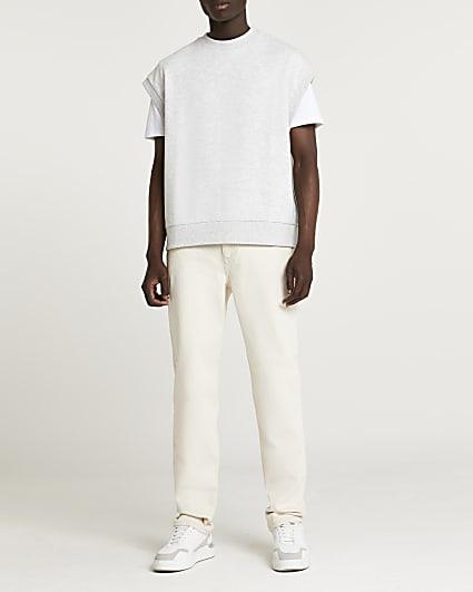 Grey crew neck sleeveless sweatshirt vest