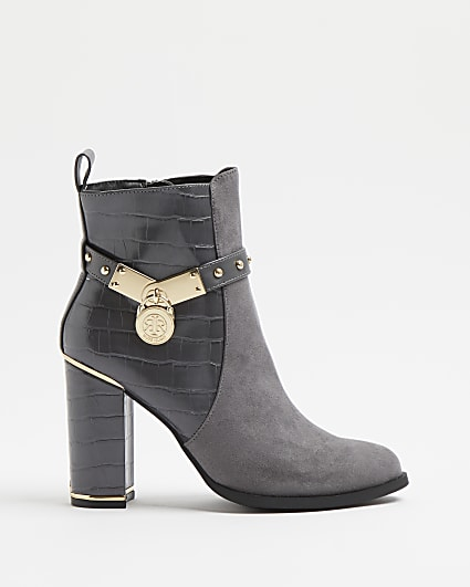 Grey croc embossed heeled ankle boots