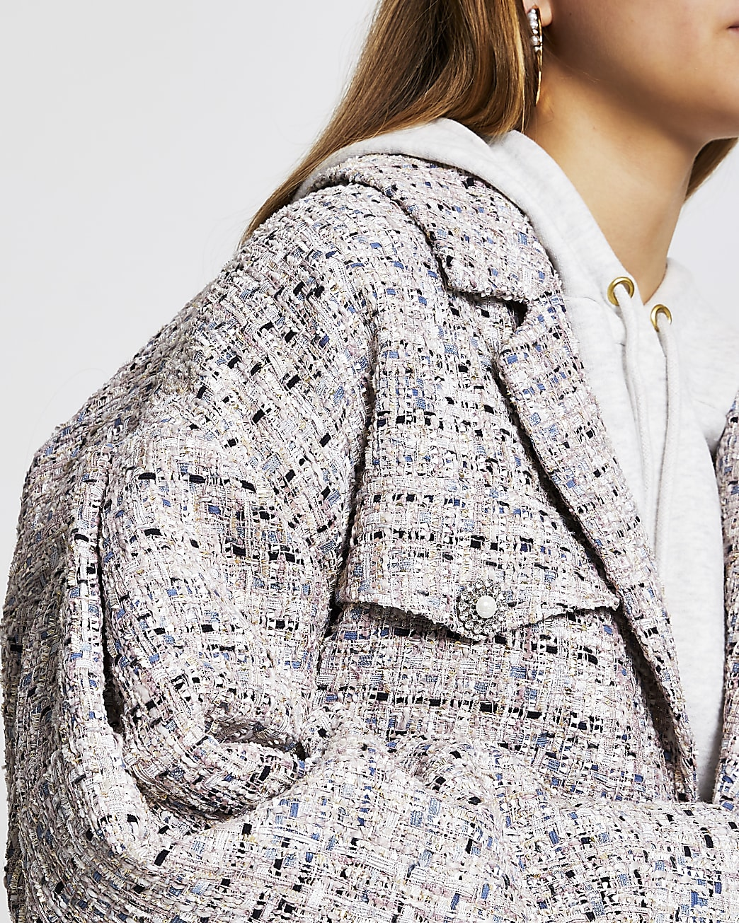 Grey crop boucle bomber jacket