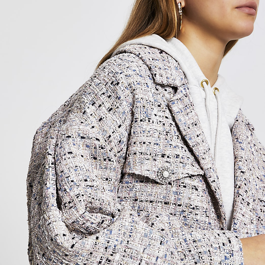 Grey crop boucle bomber jacket