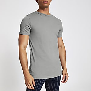 Graues, langes T-Shirt mit abgerundetem Saum