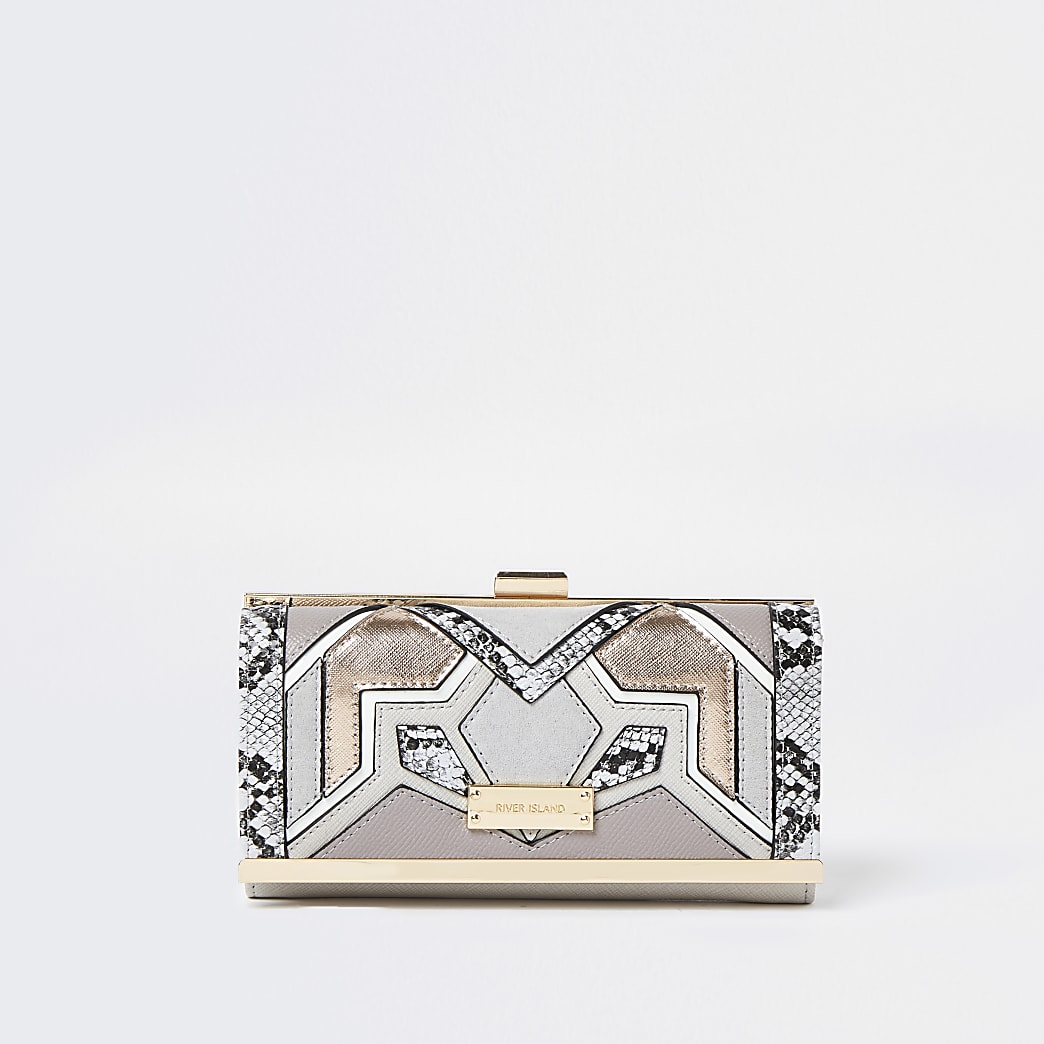 Grey cut out clip top purse