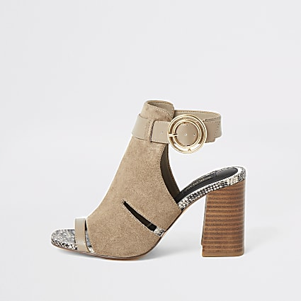 Grey cutout open toe heeled wide fit boots