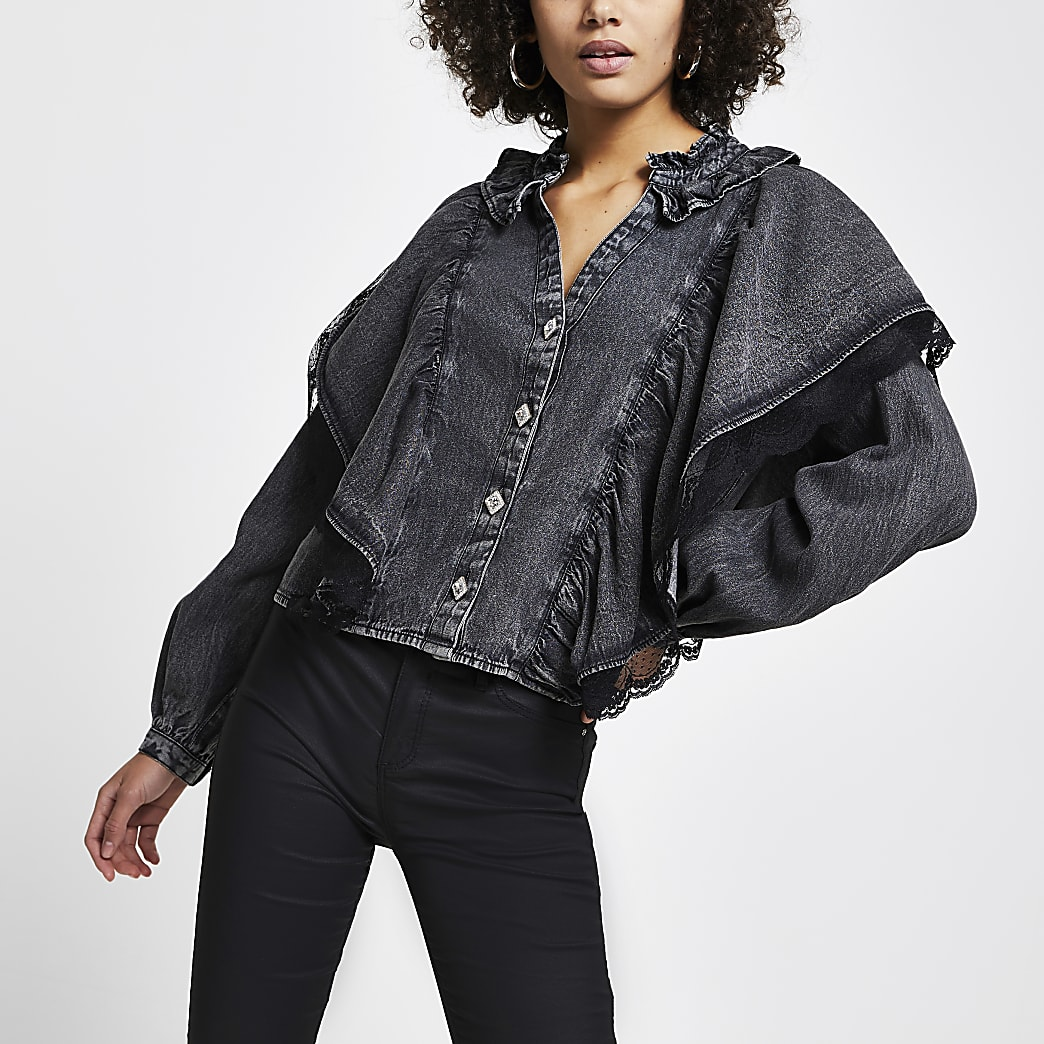 Grey denim frill mesh blouse top