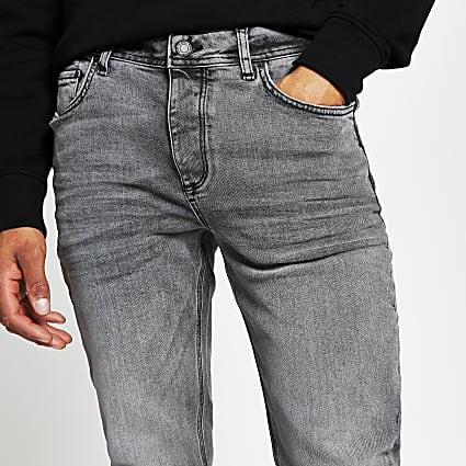 Grey denim slim fit jeans