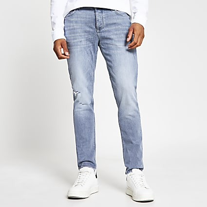 Grey denim slim fit jeans