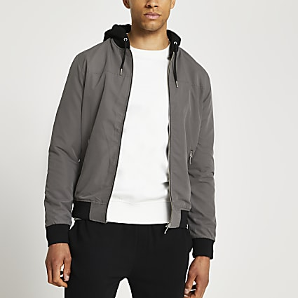 Grey detachable hood bomber jacket