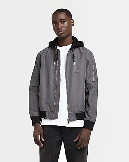 Grey detachable hood bomber jacket