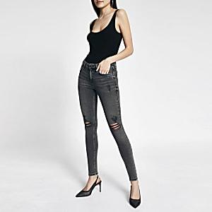 Amelie – Jean skinnytaille mi-haute à strass gris