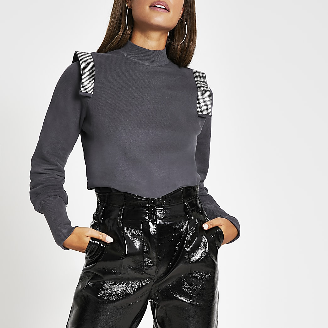 Grey diamante strip puff sleeve sweatshirt