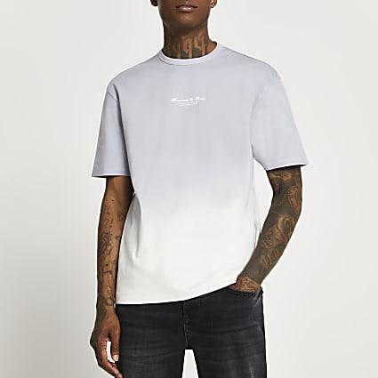Grey dip dye fade t-shirt