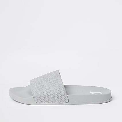 Grey dogtooth embossed sliders