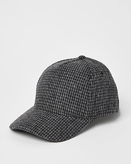 Grey dogtooth printed baseball cap