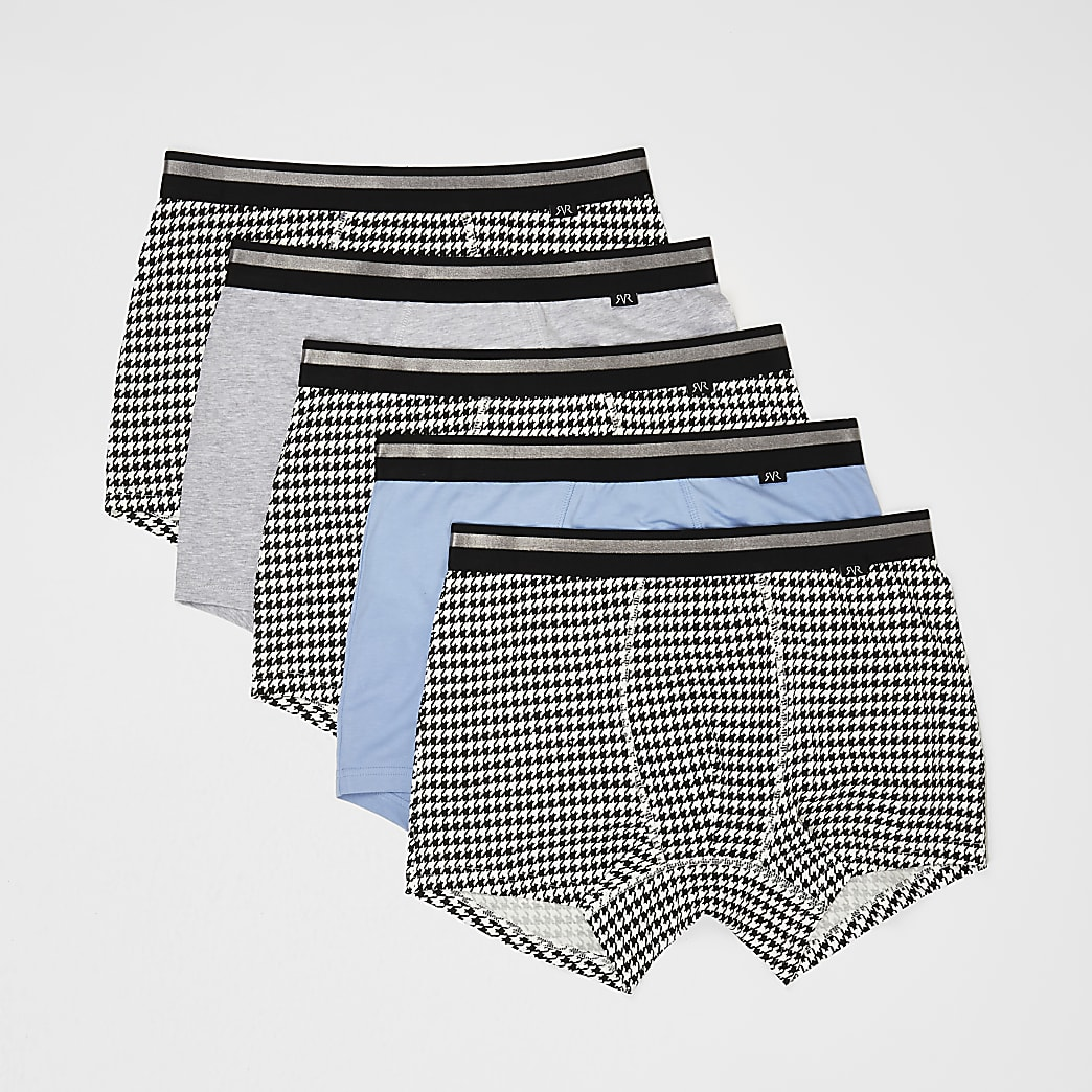 Grey dogtooth trunks 5 pack