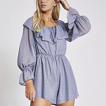 Grey dot frill neck long sleeve playsuit