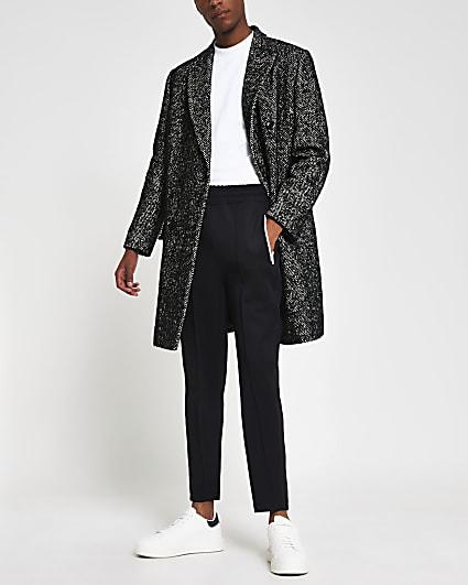 Grey double breasted herringbone overcoat